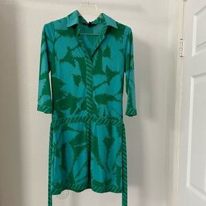 BCBGMAXAZRIA Belted Green Shirt Dress S